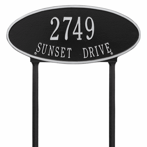 Madison Oval Standard Lawn Two Line Plaque in Black and Silver