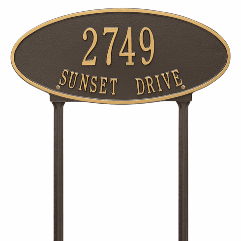 Madison Oval Standard Lawn Two Line Plaque in Bronze and Gold