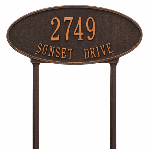 Madison Oval Standard Lawn Two Line Plaque in Oil Rubbed Bronze
