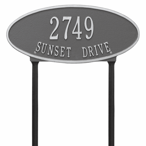 Madison Oval Standard Lawn Two Line Plaque in Pewter and Silver