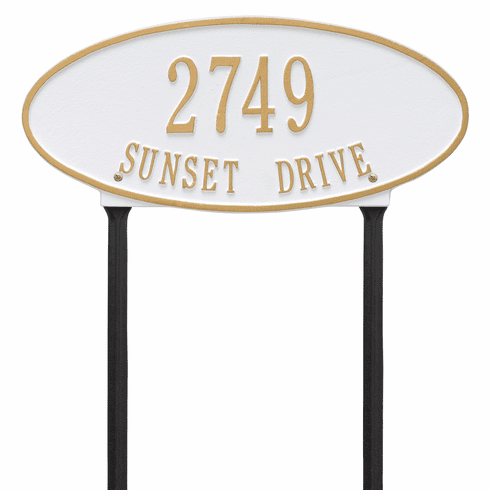 Madison Oval Standard Lawn Two Line Plaque in White and Gold