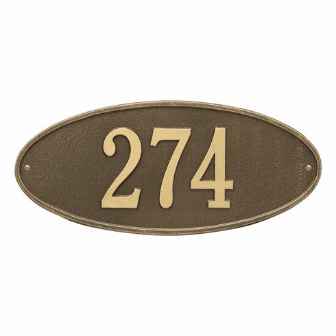 Madison Oval Standard Wall One Line Plaque in Antique Brass