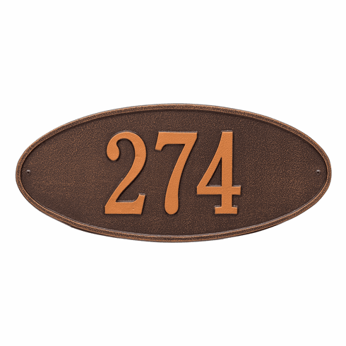 Madison Oval Standard Wall One Line Plaque in Antique Copper