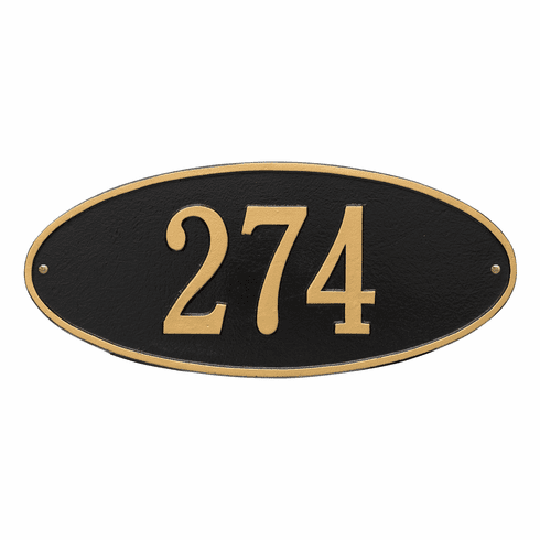 Madison Oval Standard Wall One Line Plaque in Black and Gold