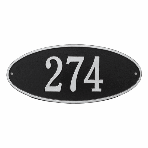 Madison Oval Standard Wall One Line Plaque in Black and Silver