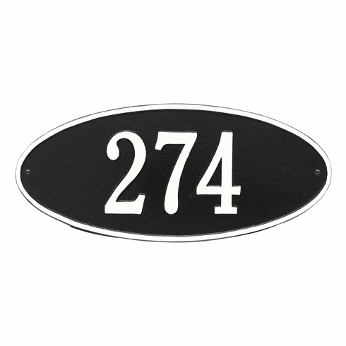 Madison Oval Standard Wall One Line Plaque in Black and White