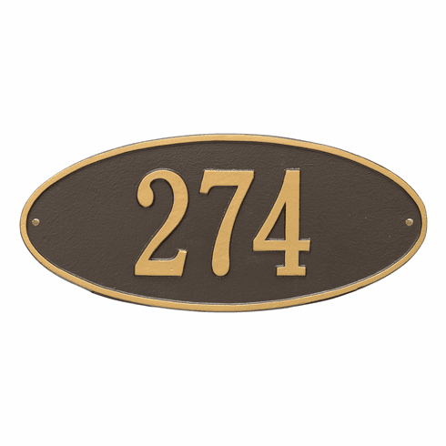 Madison Oval Standard Wall One Line Plaque in Bronze and Gold