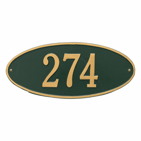 Madison Oval Standard Wall One Line Plaque in Green and Gold