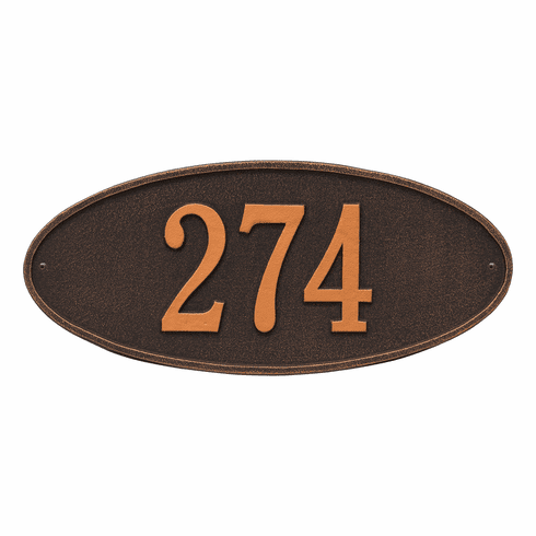 Madison Oval Standard Wall One Line Plaque in Oil Rubbed Bronze