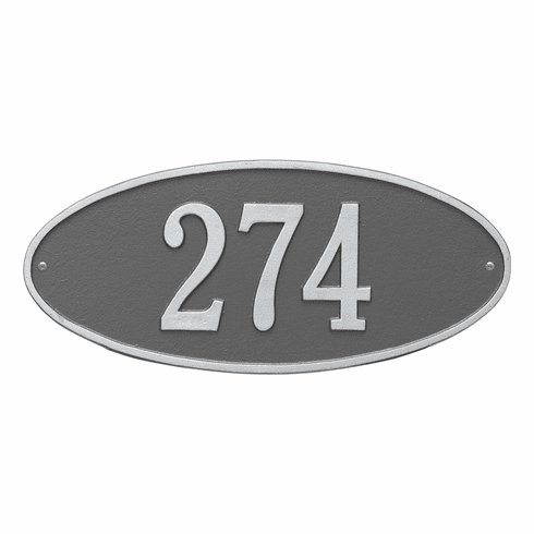 Madison Oval Standard Wall One Line Plaque in Pewter and Silver