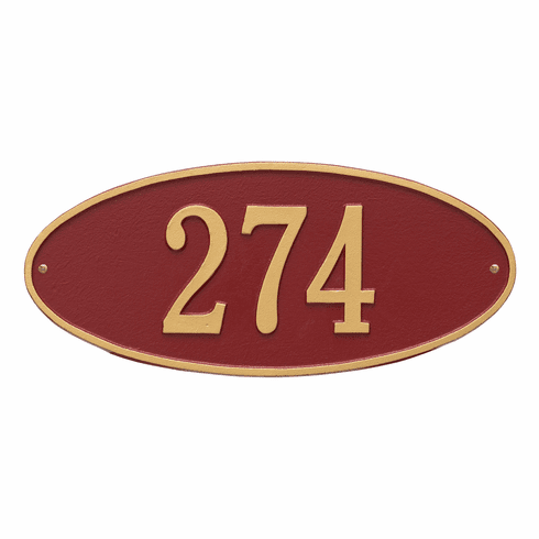 Madison Oval Standard Wall One Line Plaque in Red and Gold