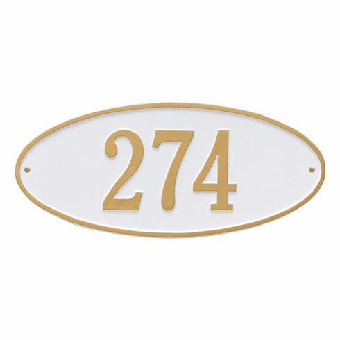 Madison Oval Standard Wall One Line Plaque in White and Gold