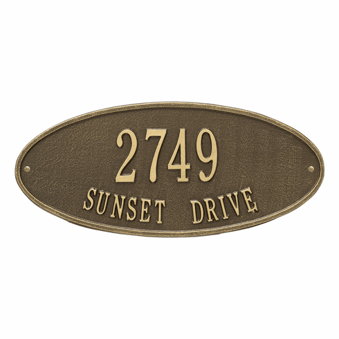 Madison Oval Standard Wall Two Line Plaque in Antique Brass