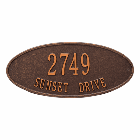 Madison Oval Standard Wall Two Line Plaque in Antique Copper