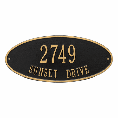 Madison Oval Standard Wall Two Line Plaque in Black and Gold