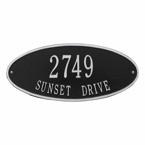 Madison Oval Standard Wall Two Line Plaque in Black and Silver