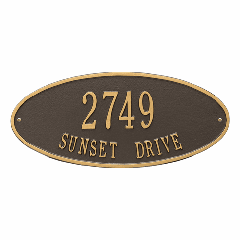Madison Oval Standard Wall Two Line Plaque in Bronze and Gold