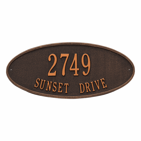 Madison Oval Standard Wall Two Line Plaque in Oil Rubbed Bronze