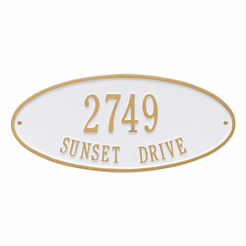 Madison Oval Standard Wall Two Line Plaque in White and Gold