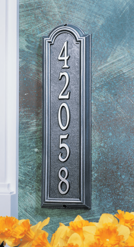Manchester Vertical Metal  Address Marker - Address Sign