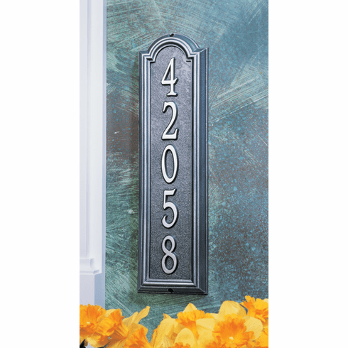 Manchester Vertical Metal Address Plaque - Large