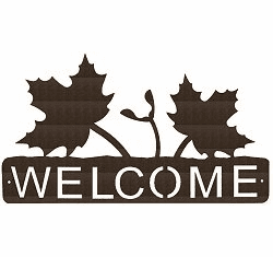 Maple Leaf Horizontal Welcome Sign