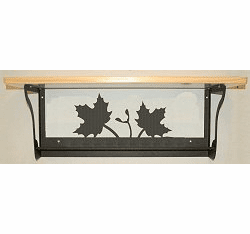 Maple Leaf Rustic Towel Bar with Shelf