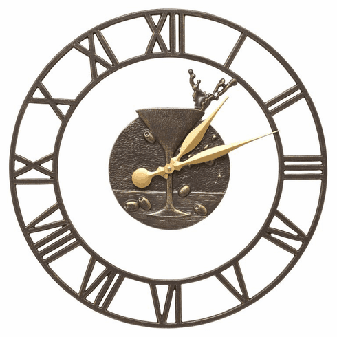 Martini Floating Ring 21 inches Indoor Outdoor Wall Clock - French Bronze