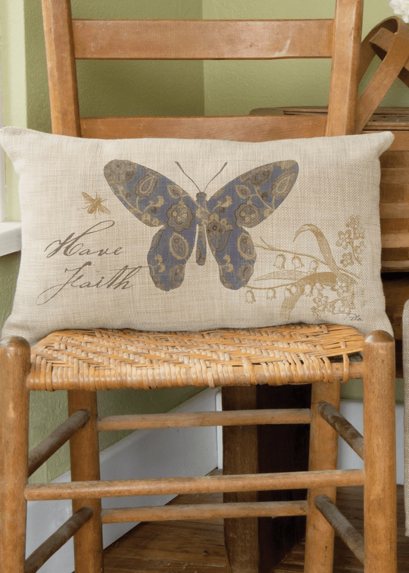 Meadow Song Have Faith - Butterfly Pillow
