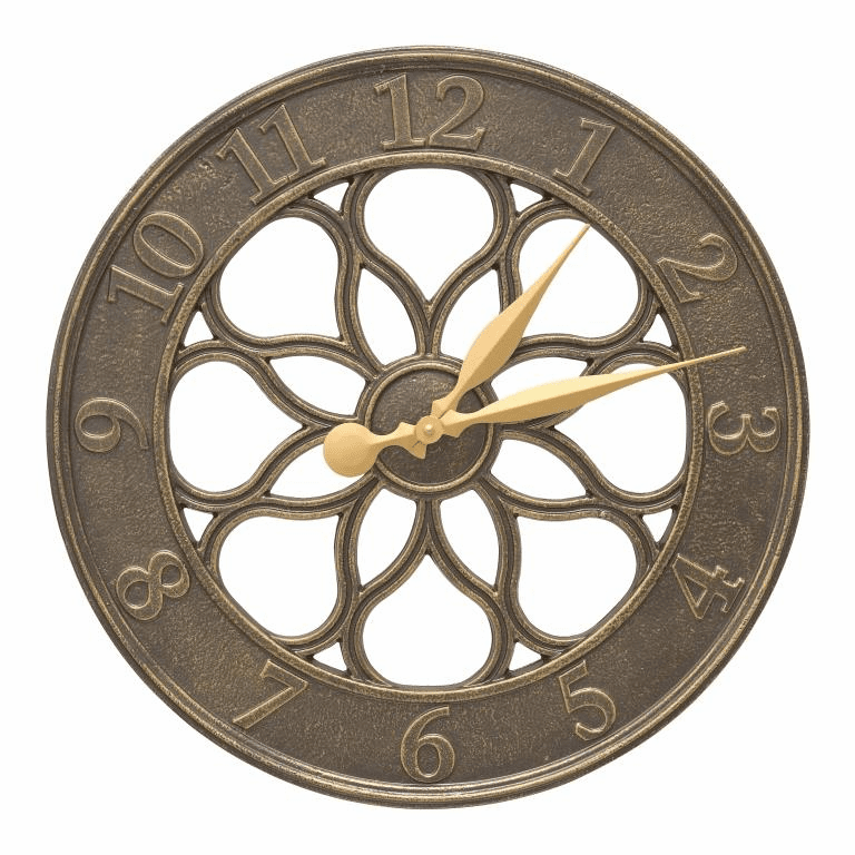 Medallion 18 inches Indoor Outdoor Wall Clock - French Bronze