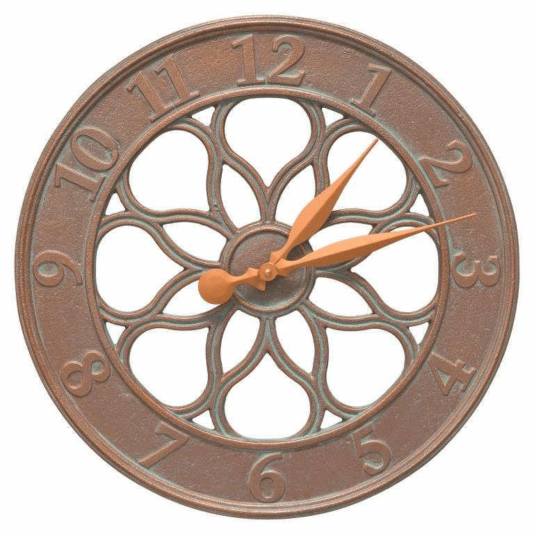 Medallion 18 inches Indoor Outdoor Wall Thermometer - Copper Verdigris