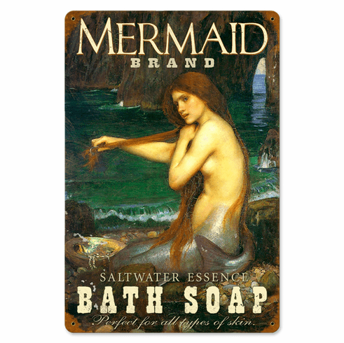 Mermaid Bath Soap Sign - Vintage Bath Sign
