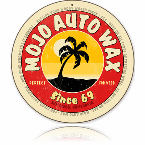 Mojo Auto Wax - Retro Round Metal Sign