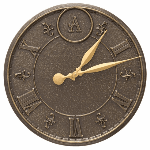 Monogram 16 inches Indoor Outdoor Wall Clock - French Bronze