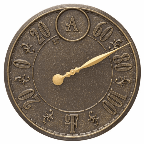 Monogram 16 inches Indoor Outdoor Wall Thermometer - French Bronze