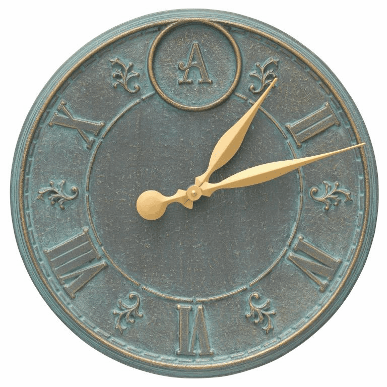 Monogram 16 inches Personalized Indoor Outdoor Wall Clock - Bronze Verdigris