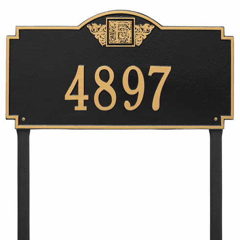 Monogram Estate Lawn One Line Plaque in Black and Gold