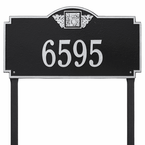 Monogram Estate Lawn One Line Plaque in Black and Silver
