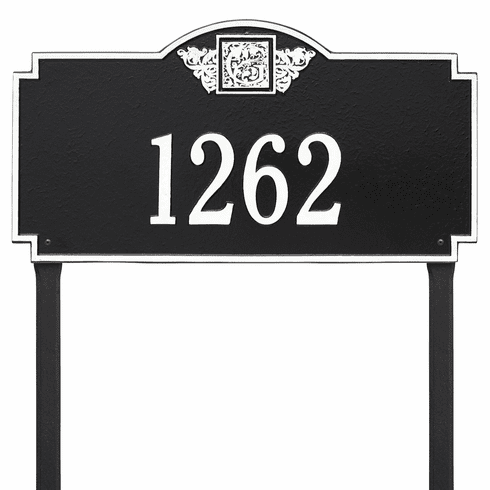 Monogram Estate Lawn One Line Plaque in Black and White