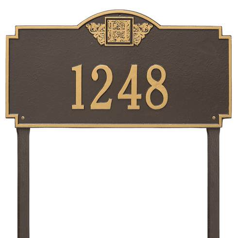 Monogram Estate Lawn One Line Plaque in Bronze and Gold