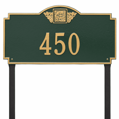 Monogram Estate Lawn One Line Plaque in Green and Gold