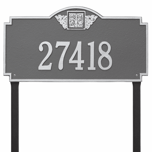Monogram Estate Lawn One Line Plaque in Pewter and Silver