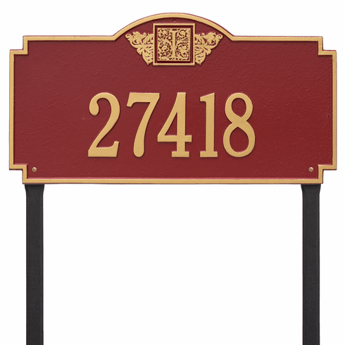 Monogram Estate Lawn One Line Plaque in Red and Gold