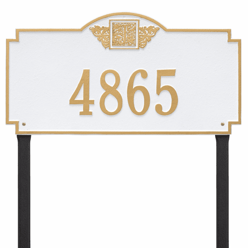 Monogram Estate Lawn One Line Plaque in White and Gold