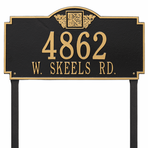 Monogram Estate Lawn Two Line Plaque in Black and Gold