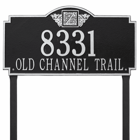 Monogram Estate Lawn Two Line Plaque in Black and Silver