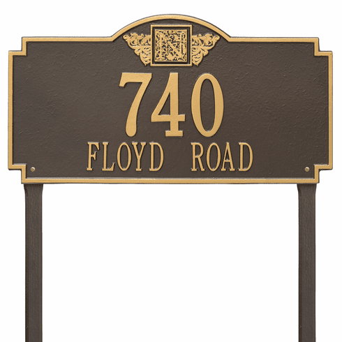 Monogram Estate Lawn Two Line Plaque in Bronze and Gold