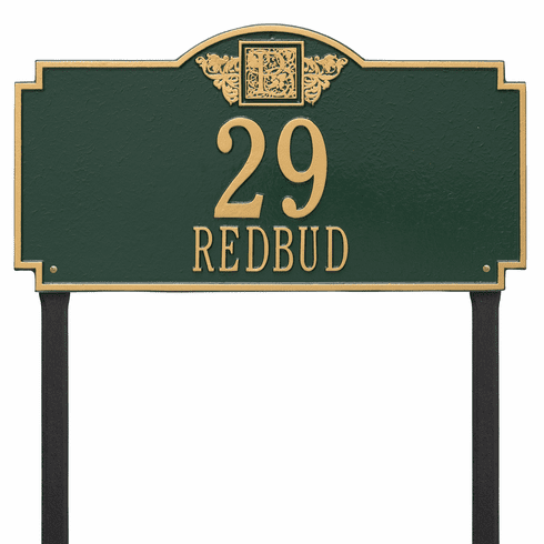 Monogram Estate Lawn Two Line Plaque in Green and Gold
