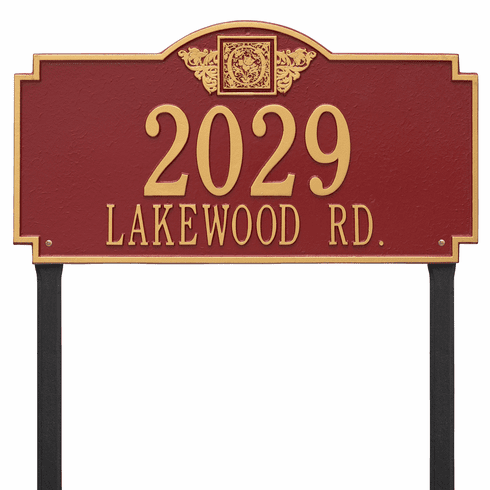 Monogram Estate Lawn Two Line Plaque in Red and Gold