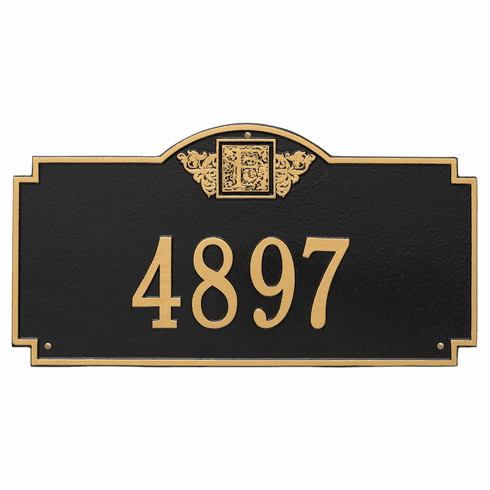 Monogram Estate Wall One Line Plaque in Black and Gold